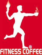Fitness Coffee mark: torchbearer with cup of coffee